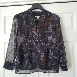 Sheer sleeves Button up Dressy purple Blouse